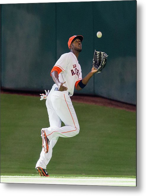 American League Baseball Metal Print featuring the photograph Cole Gillespie and Dexter Fowler by Bob Levey