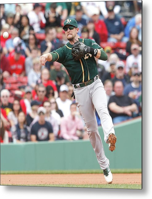 American League Baseball Metal Print featuring the photograph Jed Lowrie by Jim Rogash
