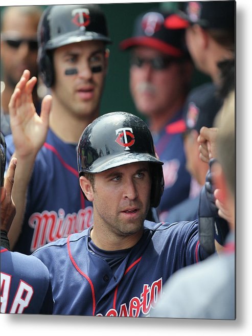 Joe Mauer Metal Print featuring the photograph Joe Mauer, Trevor Plouffe, and Brian Dozier by Ed Zurga