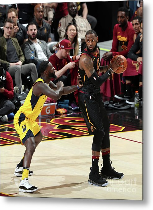 Playoffs Metal Print featuring the photograph Lance Stephenson and Lebron James by Nathaniel S. Butler