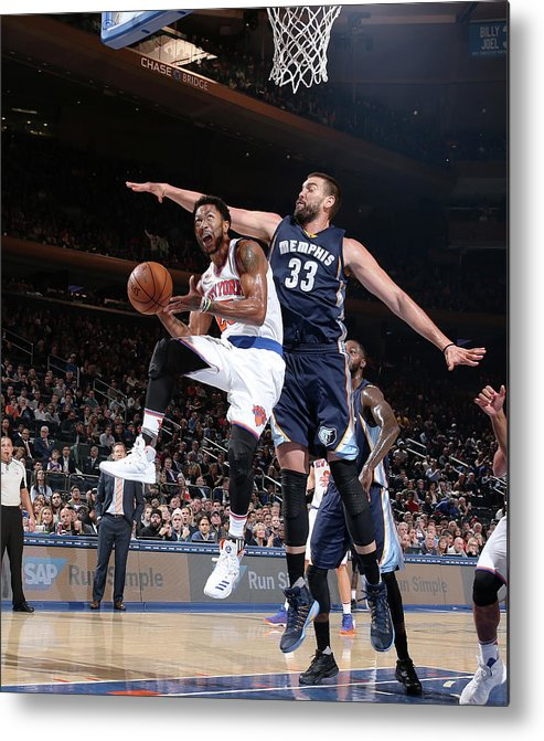 Nba Pro Basketball Metal Print featuring the photograph Marc Gasol and Derrick Rose by Nathaniel S. Butler
