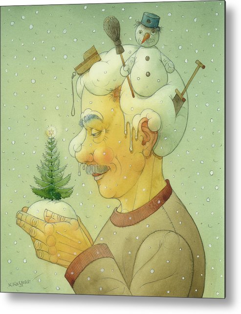 Winter Snow Figure Christmas Tree Holiday Metal Print featuring the painting Snovy Winter by Kestutis Kasparavicius