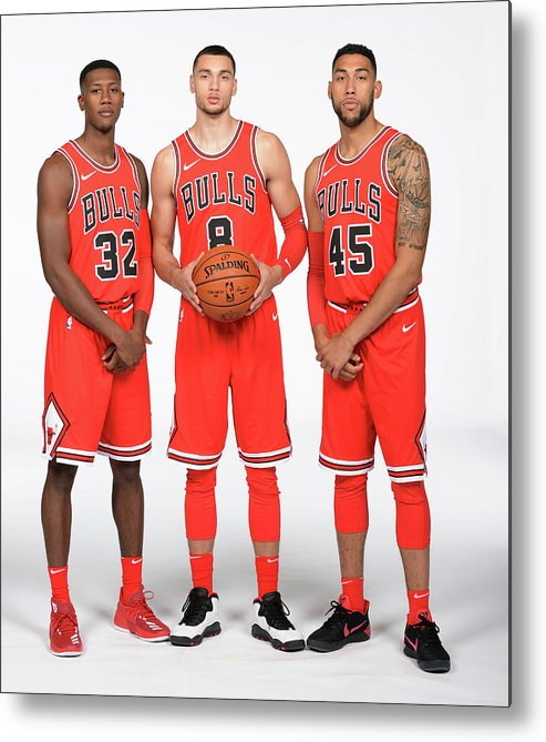 Media Day Metal Print featuring the photograph Zach Lavine, Kris Dunn, and Denzel Valentine by Randy Belice