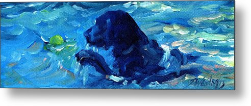Black Labrador Metal Print featuring the painting Here I Come by Sheila Wedegis