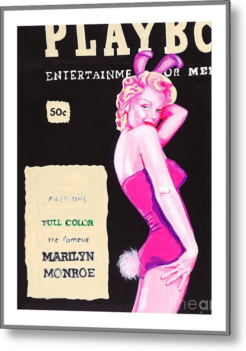 Marilyn Monroe Metal Print featuring the painting 50 Years Of Bunnies by Holly Picano