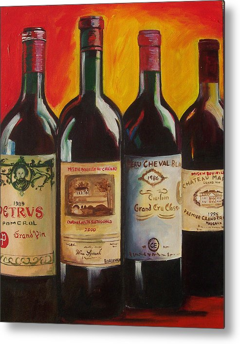 Wine Painting Metal Print featuring the painting Bordeaux by Sheri Chakamian