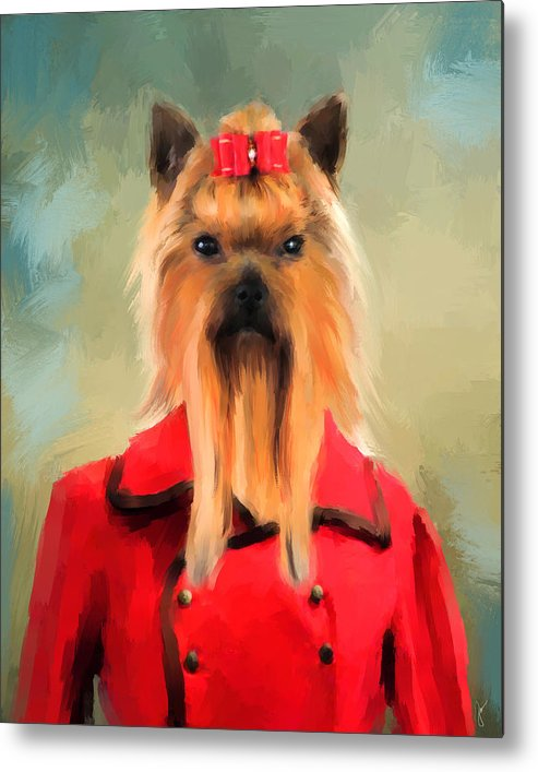 Yorkie Metal Print featuring the painting Chic Yorkshire Terrier by Jai Johnson