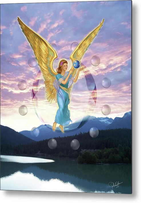 Angels Metal Print featuring the painting New Beginning by Gregory Clarke-Johnsen