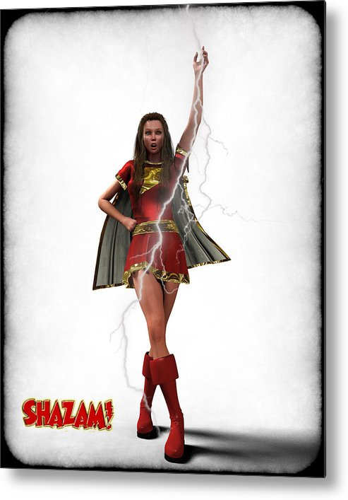 Super Heroe Metal Print featuring the digital art Shazam - Mary Marvel by Frederico Borges