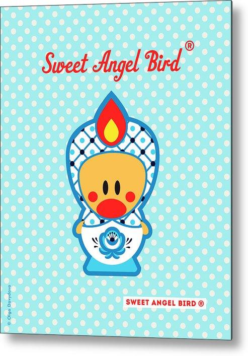 Cute Art Metal Print featuring the digital art Cute Art - Blue Polka Dot Folk Art Sweet Angel Bird In A Nesting Doll Costume Wall Art by Olga Davydova