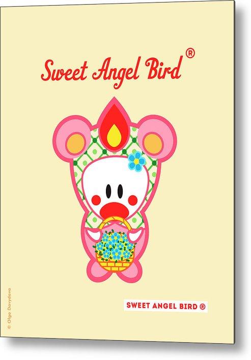 Cute Art Metal Print featuring the digital art Cute Art - Sweet Angel Bird In A Bear Costume Holding A Basket Of Forget-me-nots Wall Art Print by Olga Davydova