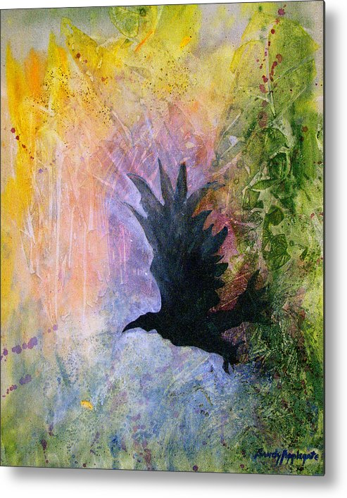 Raven Metal Print featuring the painting A Stately Raven by Sandy Applegate