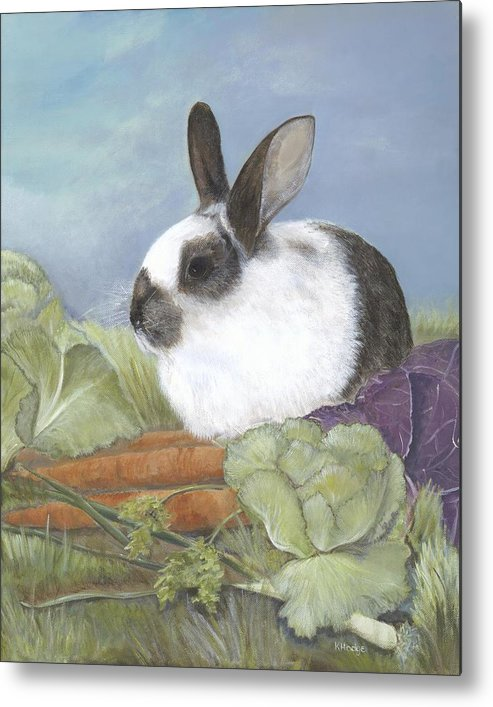 Rabbit Metal Print featuring the painting Benjamin by Kimberly Hodge