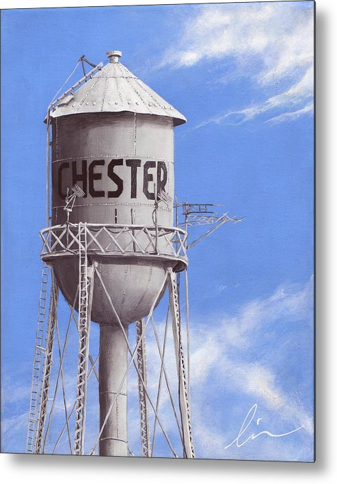 Water Tower Metal Print featuring the painting Chester Water Tower Ne by Cindy D Chinn