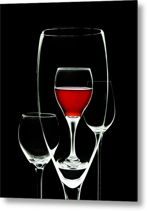 Wine Metal Print featuring the photograph Glass Of Wine In Glass by Tom Mc Nemar