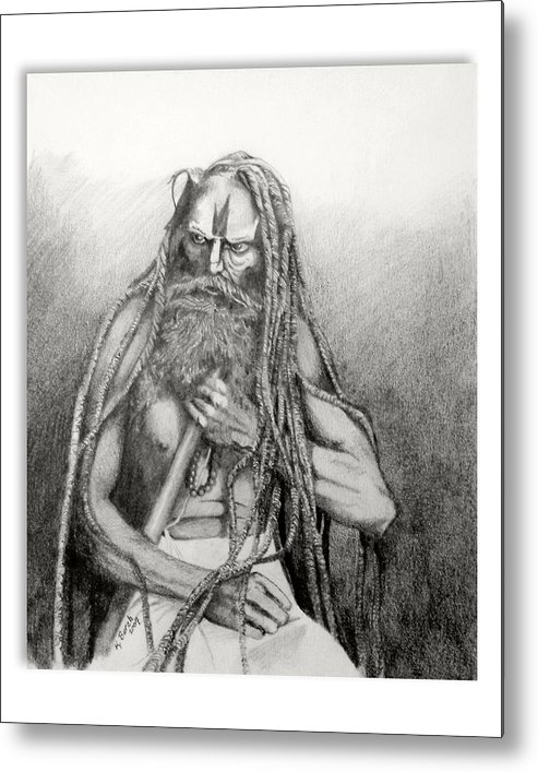 Holy Man Metal Print featuring the drawing Holy Man by Kerry Burch
