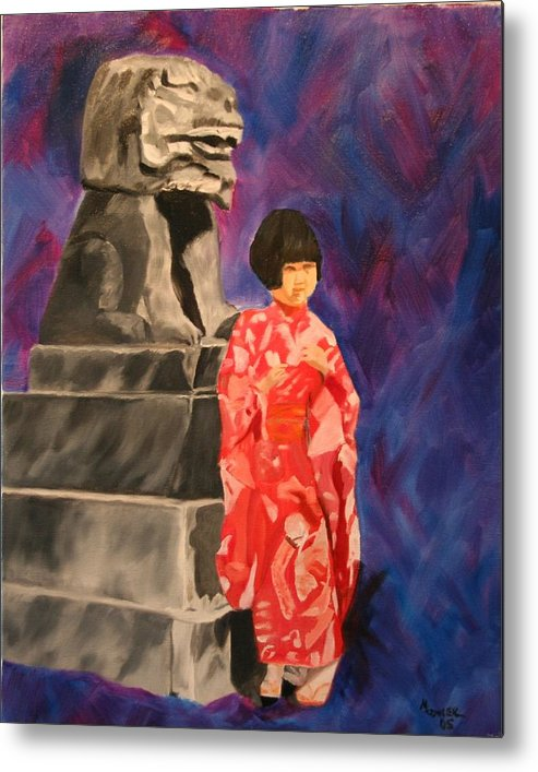 Figurative Metal Print featuring the painting Japanese Girl With Chinese Lion by Marilyn Tower