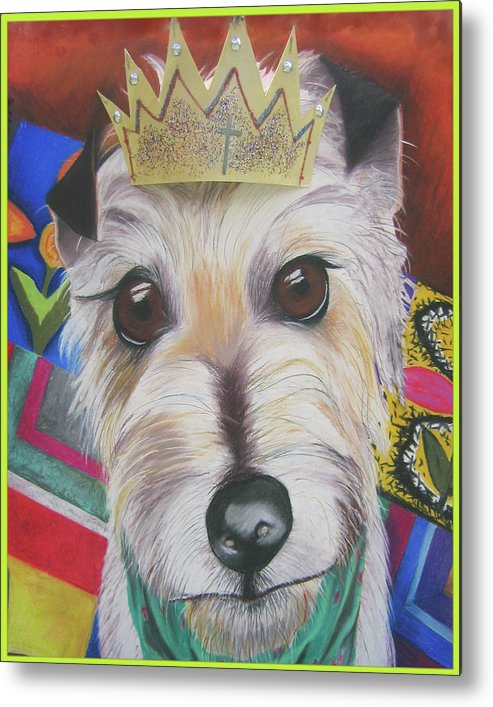 Dog Metal Print featuring the pastel King Louie by Michelle Hayden-Marsan