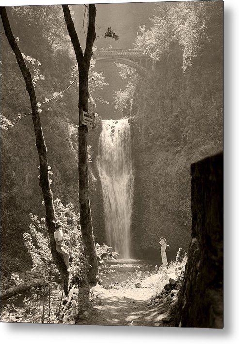 Multnomah Falls Metal Print featuring the photograph Lower Multnomah Falls by Unknown