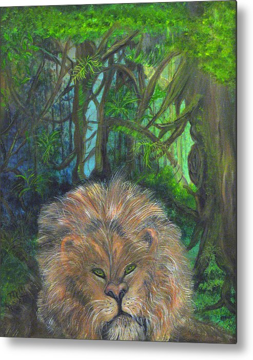 Lion Metal Print featuring the painting Lying Lion by Mikki Alhart