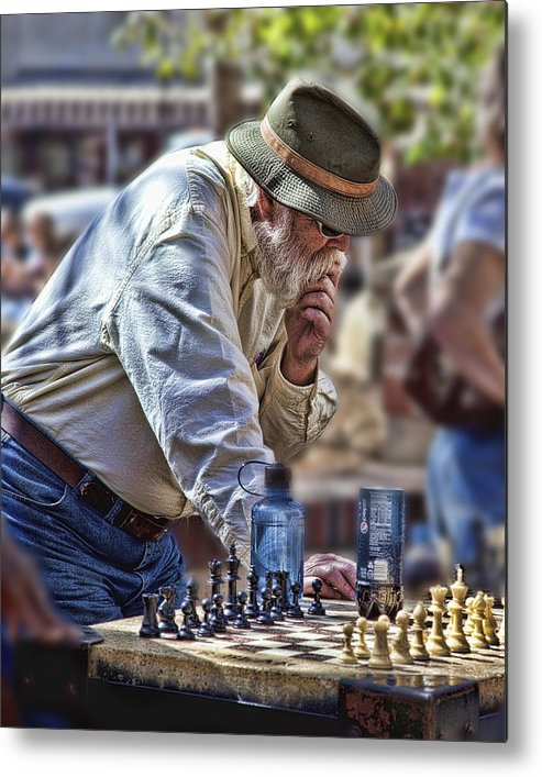 Chess Metal Print featuring the photograph Master Chess Player by Bill Linhares