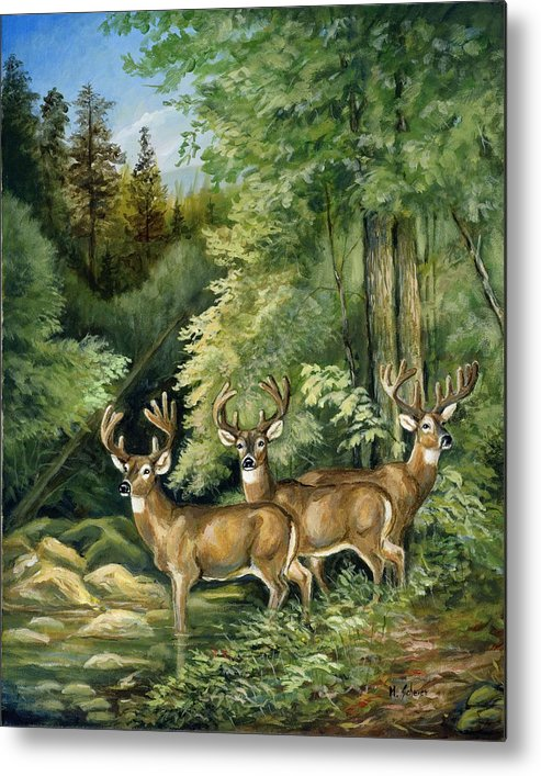 Nature Metal Print featuring the painting The Three Bachelors by Michael Scherer