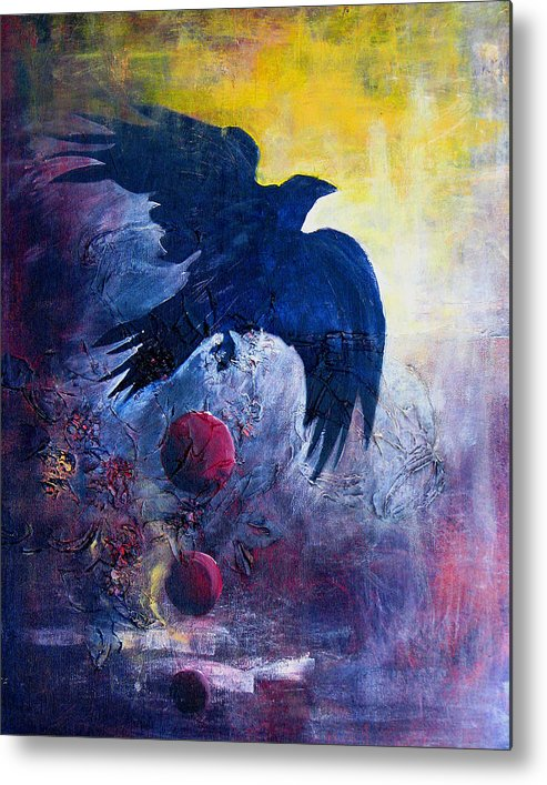Raven Metal Print featuring the painting This Mystery Explore by Sandy Applegate