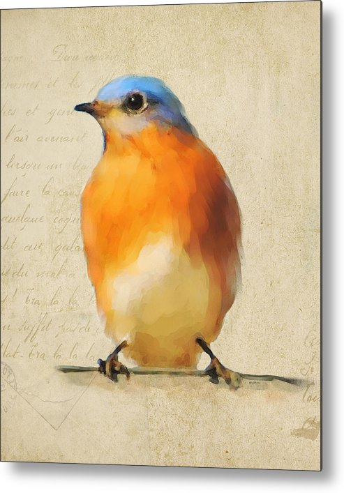 Bluebird Metal Print featuring the painting Vintage Bluebird by Jai Johnson