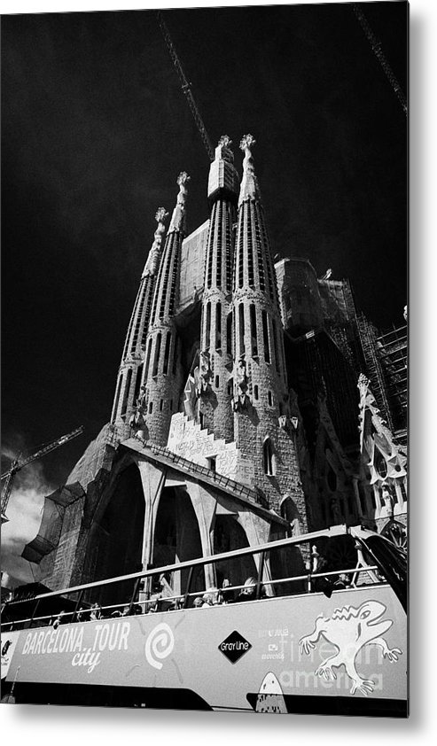 Basilica Metal Print featuring the photograph barcelona open topped bus city tour going past Sagrada Familia Barcelona Catalonia Spain by Joe Fox