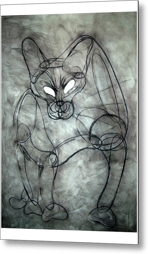 Http://www.mycottagegallery.com/product/charcoal-cat-print Metal Print featuring the painting Charcoal Cat by Soo