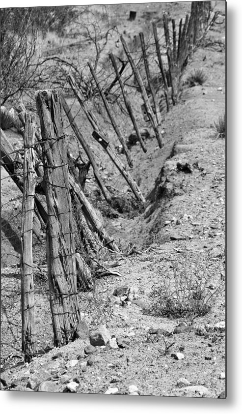 Old West Metal Print featuring the photograph Gully Fence by Robert Bermea