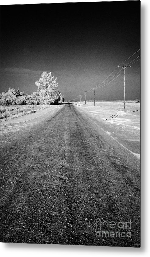 Salt Metal Print featuring the photograph salt and grit covered rural small road in Forget Saskatchewan Canada by Joe Fox