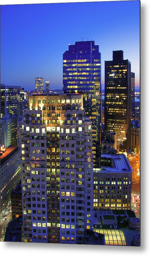 Boston Metal Print featuring the photograph Sunset Over Boston - Financial District Skyline by Joann Vitali