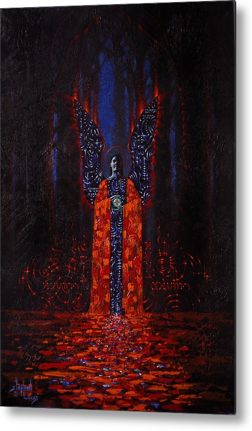 Mystical Metal Print featuring the painting Archangel Evokes Through Nights Womb by Stephen Lucas