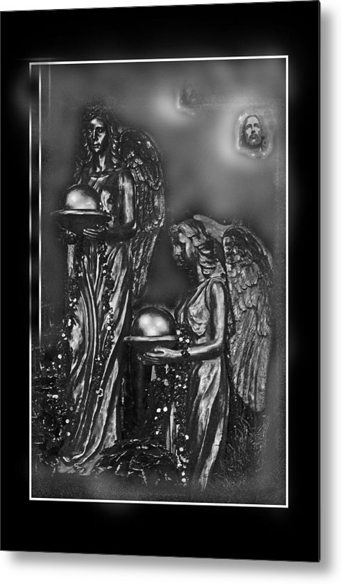 Black And White Metal Print featuring the mixed media At Heavens Doors by Jorge Gaete