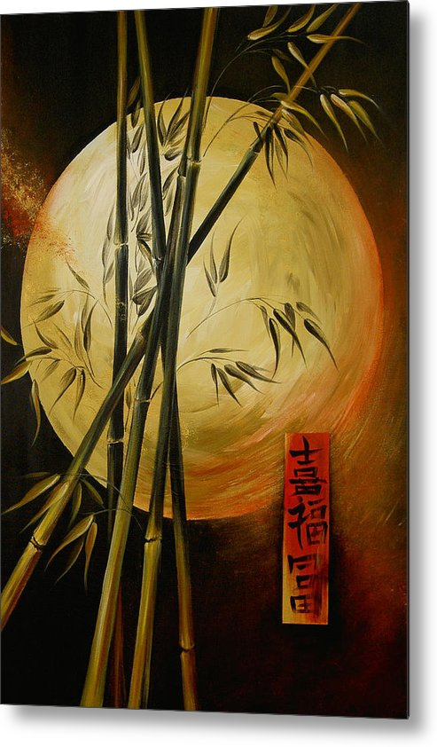 Asian Moon Bamboo Metal Print featuring the painting Autumn Moon by Dina Dargo