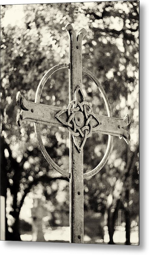 Cross Metal Print featuring the photograph Cross At Dublin Pioneer Cemetery by Troy Montemayor
