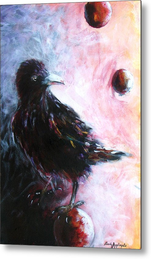 Raven Metal Print featuring the painting Distinctly I Remember by Sandy Applegate