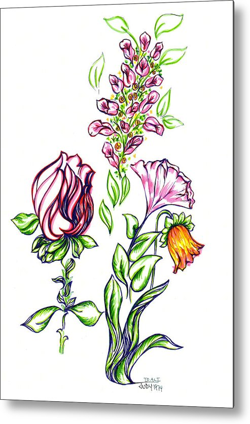 Garden Of Eden Collection Metal Print featuring the drawing Florets by Judith Herbert