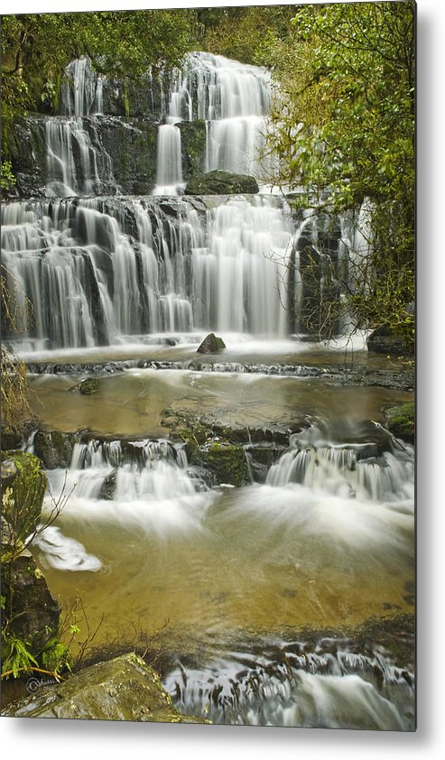 Water Metal Print featuring the photograph Purakanui Falls by Andrea Cadwallader