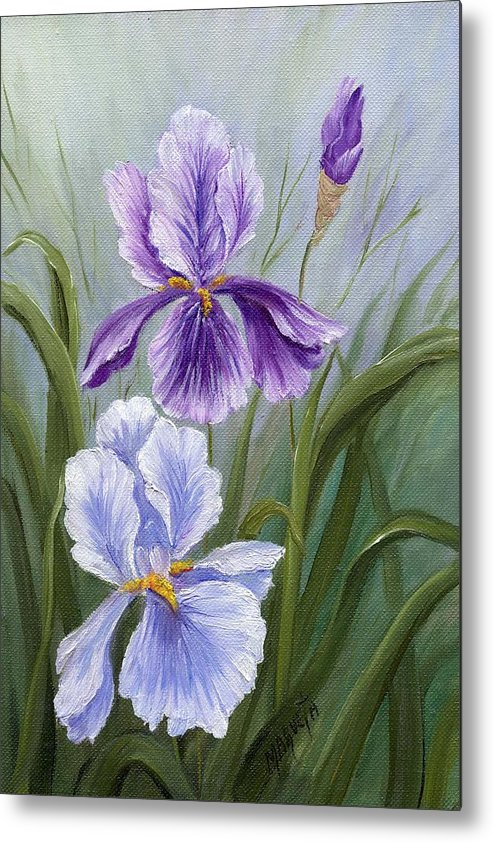 Painting Paintings Metal Print featuring the painting Rapsody Iris by Marveta Foutch