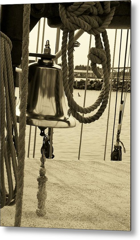 Rope Metal Print featuring the photograph Ship's Bell Sepia by Mark Cheney