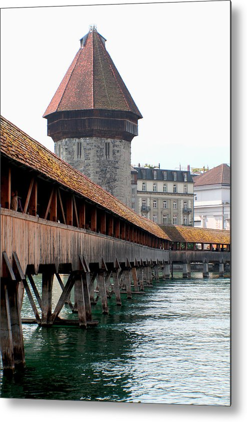 Lucerne Metal Print featuring the photograph The Kapellbrucke On The River Rueuss by Greg Sharpe