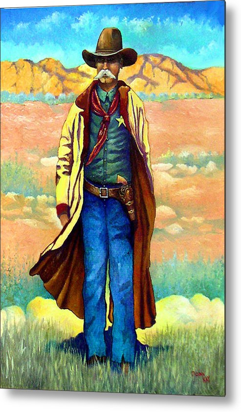 Western Art Lawman. Texas Sheriff Metal Print featuring the painting Town Marshall by Donn Kay