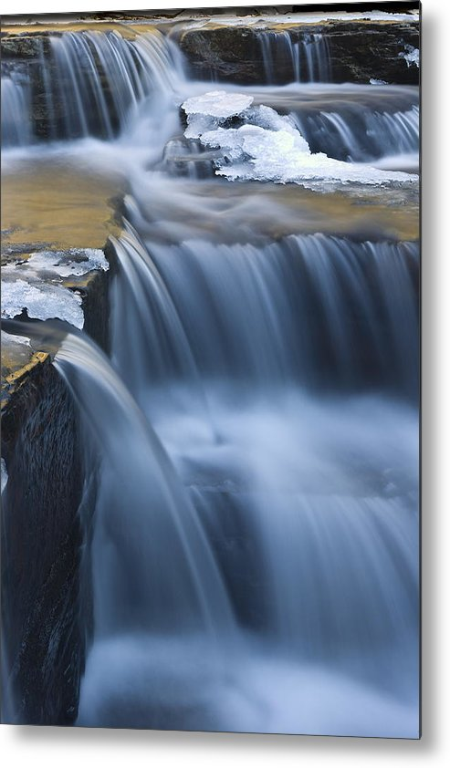 Waterfalls Metal Print featuring the photograph Waterfalls In Blue And Gold by Jim Dohms