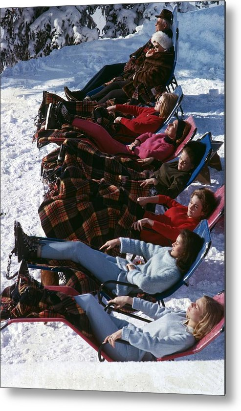 Gstaad Metal Print featuring the photograph Winter Suntans by Slim Aarons
