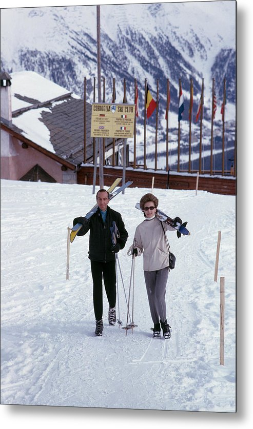 Ski Pole Metal Print featuring the photograph Skiers At St. Moritz by Slim Aarons