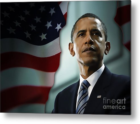 President Barack Obama Paintings Mixed Media Metal Print featuring the mixed media President Barack Obama by Marvin Blaine