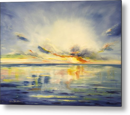Blue Metal Print featuring the painting Blue Sunset by Gina De Gorna