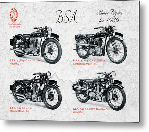 Bsa Motorcycle Metal Print featuring the photograph Bsa Motor Cycles For 1936 by Mark Rogan
